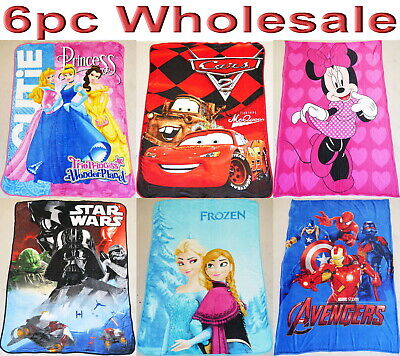 6pc Wholesale Large Kids Fleece Blanket Frozen Avengers Soft Throw 1.4x2M Mixed