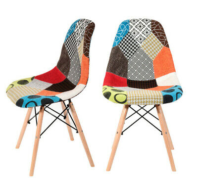 Set of 2x Retro Patchwork Chair Fabric Dining Cafe Seats Lounge Chair Colorful