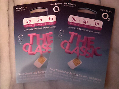 2 x O2 CLASSIC Sim Card For Mobile Phone NEW TARIFF - PAIR CONSECUTIVE NUMBERS