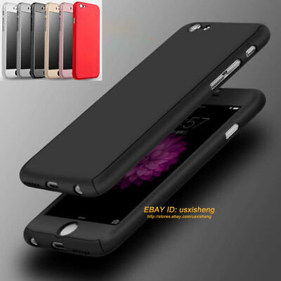 For iPhone 6s 7 8 XS Max XR 360° Full Body Hybrid Hard Case Cover+Tempered Glass