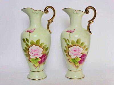 Pair of Hand Painted Pitcher Vases with Gold Handles, Vintage Roses Decor