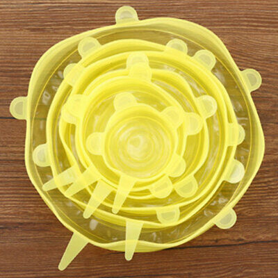 BFCD Kitchen 6pcs/Set Reusable Silicone Bowl Seal Cover Stretch Lid Keep Fresh