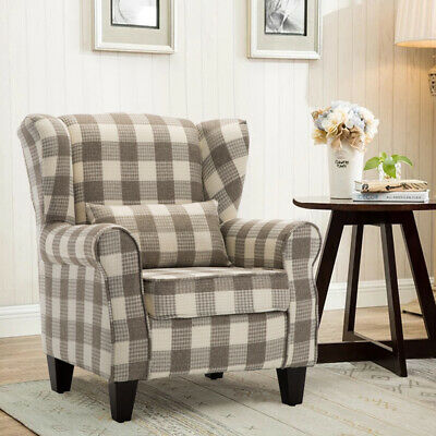 High Wing Back Orthopaedic Fireside Tub Chair Tartan Fabric Armchair Upholstered