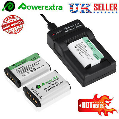 2x NP-BX1 1600mah Replacement Battery+Charger for Sony Camera DSC-RX50V DSC-H400