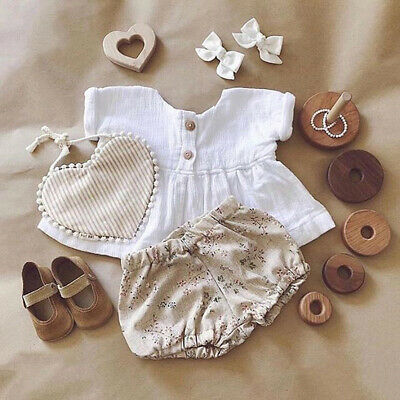 UK Infant Baby Girls Kids Clothes Shorts Sleeves T-Shirt + Pants Outfits Sets T