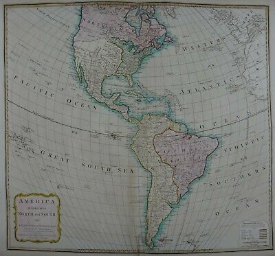 Rare Antique Map of North and South America, 1794 London: Laurie & Whittle