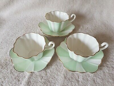 3 Pretty Royal Stuart Bone China Harlequin Tea Cups with Saucers in Green Candy