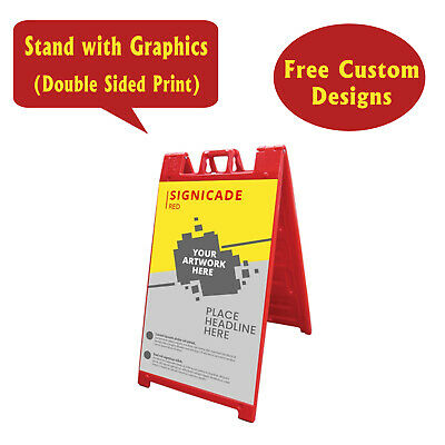 Signicade A Frame Sidewalk Pavement Sign, Double Sided Print Sandwich Board, Red