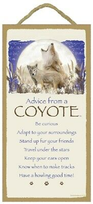 Advice from a Coyote Inspirational Wood Wild Animal Sign Plaque Made in USA