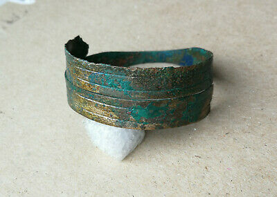 Authentic Ancient Scythian Bronze Rare Bracelet Spiral Twisted With Ornament