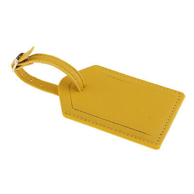 1Pc PU Leather Travel Luggage Suitcase Bag Tags ID Label Name Card - Yellow
