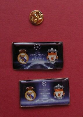 SALE 2 different Pin Badges FC Liverpool Real Madrid 2018 Champions League Final