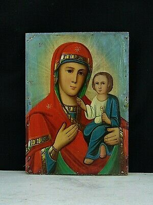 Antique 19th Russian Hand Painted Wood Orthodox Icon Mother of God