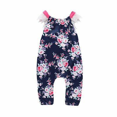 Comfortable Sleeveless Rompers Floral Printed Newborn Baby Girls Jumpsuits ry