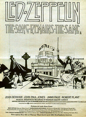 Led Zeppelin Repro 1976 The Song Remains The Same Film Movie Poster . Jimmy Page