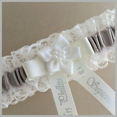 Personalised Bridal Garter. Ivory or White lace with taupe satin trim.