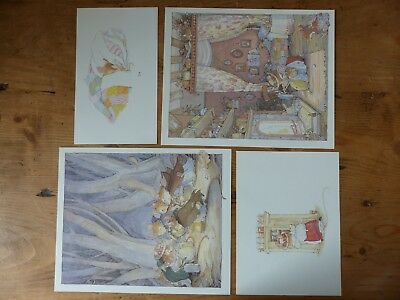 Retro Brambly Hedge Book Plates/ Illustration Print - Autumn Story Pictures x4