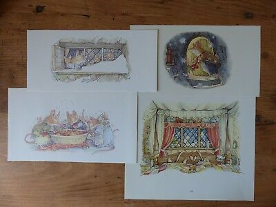 Retro Brambly Hedge Book Plates/ Illustration Print - Winter Story Pictures x4