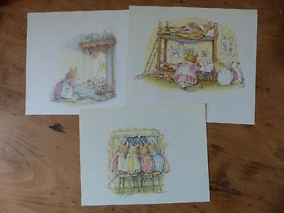 Retro Brambly Hedge Book Plates/ Illustration Print - Winter Story Pictures x3