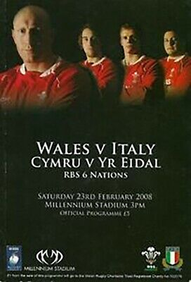 Wales v Italy 2008 rugby programme six nations grand slam