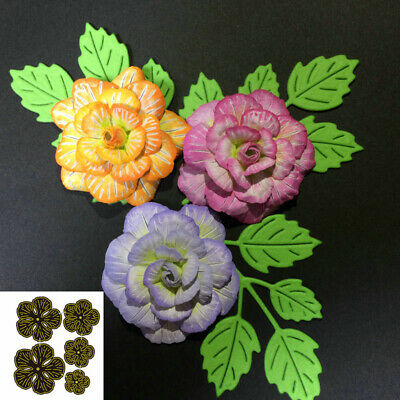 Flower Stitched Metal Cutting Dies 5Pcs DIY Scrapbooking Photo Cards Decor