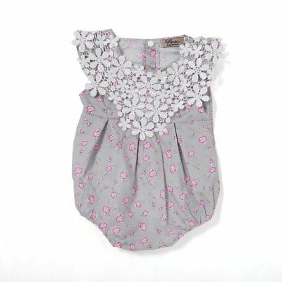 Sleeveless Lace Rompers Floral Printed Infant Newborn Baby Girls Jumpsuits ry
