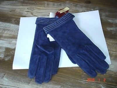 Designer Dents French Blue suede Gloves size Large NWT