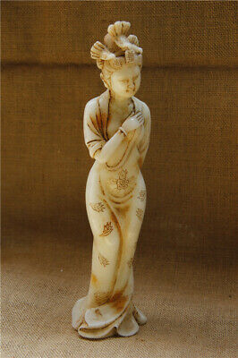 """11"""" China antique handcarved white jade nude Beauty Maid statue"""