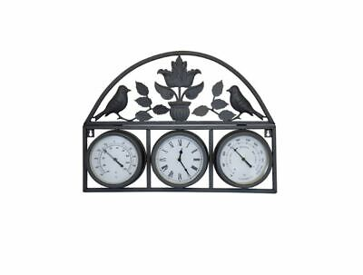 Bentley Garden Shabby Chic Wall Clock with Thermometer & Hygrometer