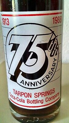 1988 Tarpon Springs Coca-Cola Bottling Company 75th Ann 1913-1988 10 oz Bottle