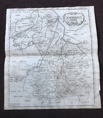 1695 COUNTY of CAMBRIDGESHIRE Original English Antique Map  Robert Morden RARE