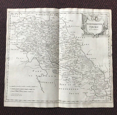 1695 MAP of NORTHHAMPTONSHIRE Original English Antique Map  Robert Morden