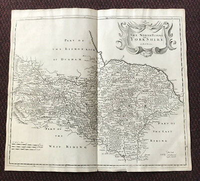 1695 MAP of NORTH RIDING of YORKSHIRE English Antique Map Robert Morden