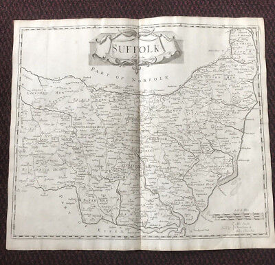 1695 COUNTY of SUFFOLK Original English Antique Map  Robert Morden RARE