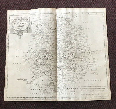 1695 COUNTY of WARWICKSHIRE Original English Antique Map  Robert Morden RARE