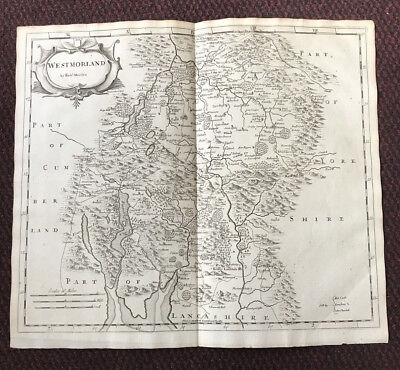 1695 - MAP of WESTMORLAND - Original English Antique Map - Robert Morden RARE