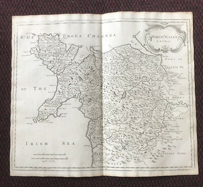 1695 Map of NORTH WALES Original Welsh Antique Map  Robert Morden RARE