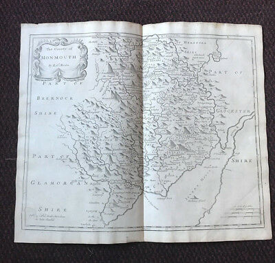 1695 COUNTY of MONMOUTH Original English Antique Map  Robert Morden RARE