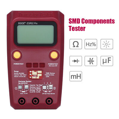Digital SMD Component Transistor Tester Capacitor ESR Pro Inductance Kit Checker