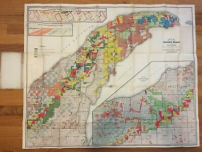 Antique 1907 Map of the Copper Range of Northern Michigan by R.M. Edwards
