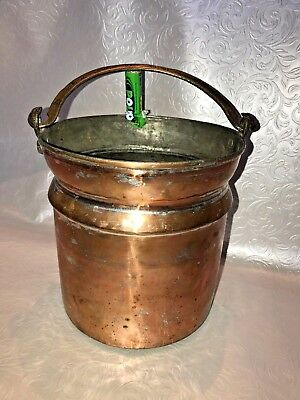 "vintage 8"" copper brass coloured bucket planter floral rustic arts crafts feel"