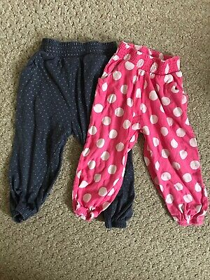 2 Pairs of Girls Next Spotty Polka dot Trousers 18-24 Months