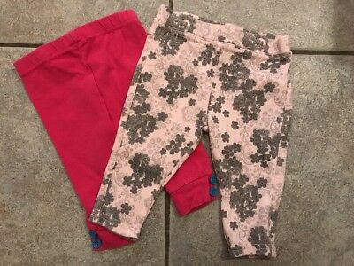 2 Pairs Baby Girls Pink Trousers Size 3-6 Months