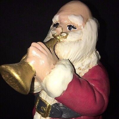 1990's Christmas Ceramic Hand Painted Music Box SANTA CLAUS IS COMING TO TOWN