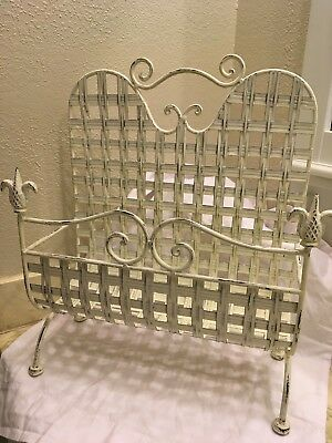 Vintage High Back Footed Wrought Iron Style Metal Magazine Rack