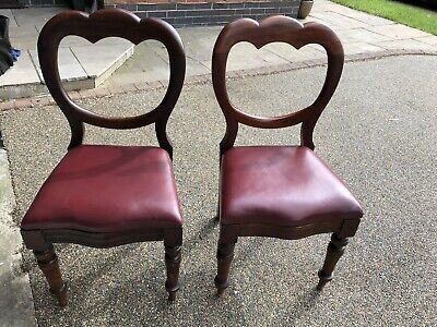 Antique Vintage Mahogany Victorian balloon back dining chairs pair red.