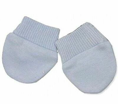 2 Pairs of Tiny Baby Scratch Mittens Mitts Premature Blue 100% Cotton