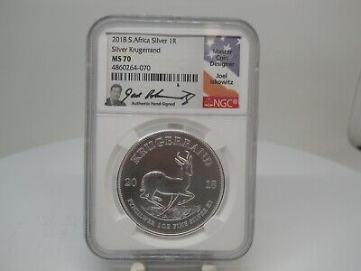 2018 South Africa 1ozt Silver Krugerrand NGC MS 70 Joel Iskowitz Signature
