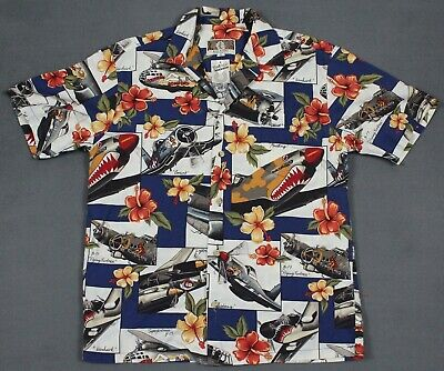 b0f7a1f1 Kalaheo USA WWII Warbirds Airplanes Bombers Button Hawaiian Shirt Mens Small