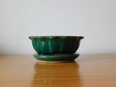 c.19th - Antique Chinese Green Glaze Porcelain Planter with Stand